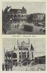 PBK-2934 Prentbriefkaart met 2 afbeeldingen van voor en na het bombardement van 14 mei 1940.Boven: Het station Hofplein ...
