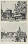 PBK-2935 Prentbriefkaart met 2 afbeeldingen van voor en na het bombardement van 14 mei 1940.Boven: Het Hofplein met ...