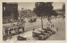 PBK-2983 Gezicht op het Hofplein met links de Delftse Poort. Uit het oosten. Op de achtergrond de Coolsingel hoek ...