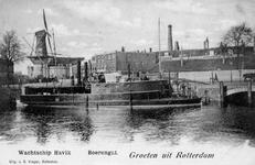 PBK-31 Gezicht op het schip de H.Mr. Havik aan de Admiraliteitskade. Op achtergrond molen De Noord en de Oostpoort aan ...