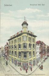 PBK-3122 Modemagazijn Lampe aan de Hoogstraat nummer 347 op de hoek van het Spui, tegenover de Vlasmarkt, vanuit het ...