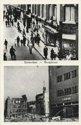 PBK-3151 Twee afbeeldingen op één prentbriefkaart. Boven: Warenhuis Vroom en Dreesman op de hoek van de Hoogstraat en ...