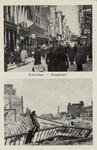 PBK-3152 Twee afbeeldingen op één prentbriefkaart. Boven: Hoogstraat bij de Wijde Kerksteeg, tussen Spui en Vlasmarkt, ...