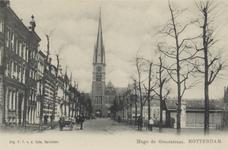 PBK-3179 Hugo de Grootstraat, ter hoogte van de Veemarkt, vanuit het zuiden. Op de achtergrond de rooms-katholieke kerk ...