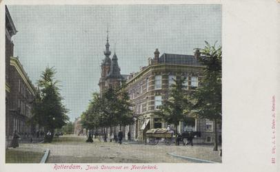 PBK-3193 Gezicht in de Jacob Catsstraat, uit het noorden. Op de voorgrond rechts de Zwart Janstraat. Op de achtergrond ...