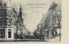 PBK-3198 Jacob Catsstraat, van de Noordsingel gezien, uit het zuiden. Links op de voorgrond, café Rondeel, iets ...
