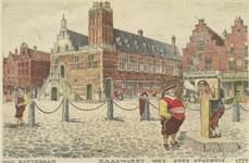 PBK-3254 Het oude stadhuis aan de Kaasmarkt. Op de voorgrond een man in schavot die een pijp krijgt te roken van een ...