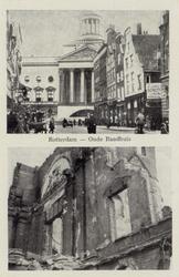 PBK-3274 Prentbriefkaart met 2 afbeeldingen.Boven: De Botersloot met rechts de Vleeshal. Op de achtergrond het stadhuis ...