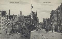PBK-3340 Twee afbeeldingen op één prentbriefkaart.Links: Kipsloot, na 1862 Kipstraat, vanaf de Goudsewagenstraat, naar ...