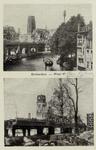 PBK-3421 Prentbriefkaart met 2 afbeeldingen de Kolk en omgeving voor en na de Tweede Wereldoorlog.Boven: De Kolk, ...