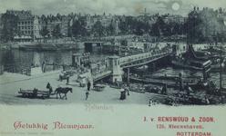 PBK-3480 Nieuwjaarswens van J. van Renswoud & Zoon.De Koningsbrug, uit het westen, vanaf het Bolwerk . Op de ...