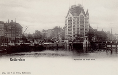 PBK-3489 Oudehaven met de Koningsbrug, uit het zuidoosten. Op de achtergrond het Witte Huis. Links het Bolwerk.