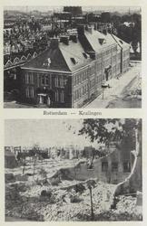 PBK-3623 Prentbriefkaart met twee afbeeldingen van voor en na het bombardement van 14 mei 1940:Boven: De Libanon H.B.S. ...