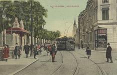 PBK-3768 Kruiskade, vanuit het westen. Links de ingang van de Rotterdamsche Diergaarde, rechts het hoekpand van de ...