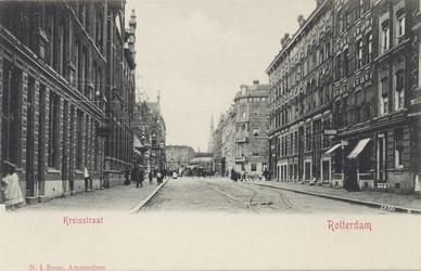 PBK-3798 Kruisstraat in de richting van het Stationsplein. Links in het midden de ingang van de Rotterdamsche ...