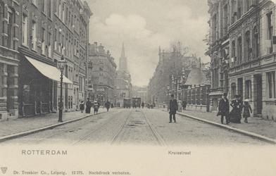 PBK-3803 De Kruisstraat, vanuit het noorden. Rechts de ingang van de Rotterdamse Diergaarde, recht tegenover de ...