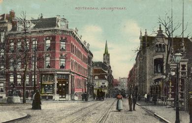 PBK-3808 Kruisstraat met rechts de ingang van de Rotterdamsche Diergaarde, links de Diergaardelaan. Op de achtergrond ...