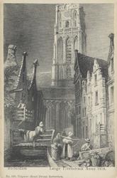 PBK-3851 Gezicht op de Grote Kerk, uit het noorden, vanaf de Slijkvaart (later Lange Torenstraat).