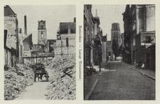 PBK-3864 Twee afbeeldingen op een kaart.Gezicht in de door het Duitse bombardement van 14 mei 1940 getroffen Lange ...