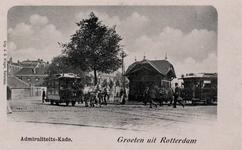 PBK-39 Gezicht op de Admiraliteitskade uit het westen vanaf het Oostplein. Op de voorgrond paardentrams. Links de ...