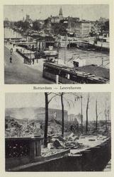 PBK-3994 Twee afbeeldingen op één prentbriefkaart.Boven: De Leuvehaven van het Willemsplein af, uit het zuiden. In het ...