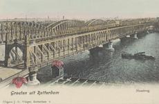 PBK-4106 De Willemsbrug en de spoorbrug over de Nieuwe Maas, vanaf de Boompjes, uit het noordwesten. Op de voorgrond ...