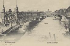 PBK-4177 De Willemsbrug en de spoorbrug (de Maasbruggen) over de Nieuwe Maas, op de achtergrond de Boompjes en de toren ...