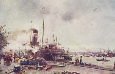 PBK-4316 Een schip van de Batavierlijn langs de kade van de Boompjes, tijdens laden en lossen van goederen.