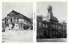 PBK-435 Prentbriefkaart met 2 afbeeldingen, voor en na het bombardement van 14 mei 1940. Het Beursgebouw aan het Beursplein,