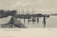 PBK-4424 De Maashaven, vanaf de oever gezien. Op de achtergrond links dok 4 van de Gemeentelijke Droogdok in aanbouw, ...