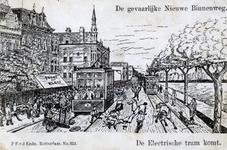 PBK-4786 Spotprent op de electrische tram. Ongeluk aan de Nieuwe Binnenweg met een electrische tram.