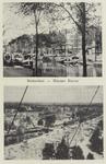 PBK-4864 Twee afbeeldingen van de Nieuwehaven van voor en na de Tweede wereldoorlog op één prentbriefkaart.Boven: ...