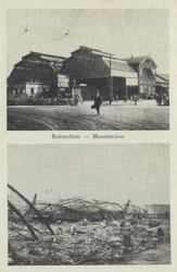 PBK-5075 Twee afbeeldingen van het Maasstation op een prentbriefkaart. Boven: De ingang van het Maasstation aan de ...