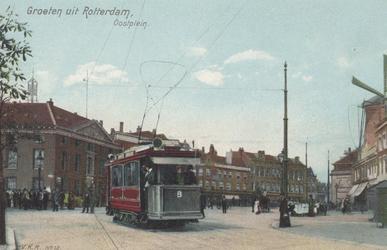 PBK-5120 De Marinierskazerne aan het Oostplein hoek Nieuwehaven. Op de voorgrond de nieuwe electrische tram.