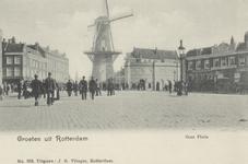 PBK-5148 Oostplein met op de achtergrond molen De Noord, vanaf het Oostmolenwerf. Op de achtergrond de toren van de ...