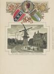 PBK-5166 Oostplein met molen De Noord, vanuit het zuiden. Boven de afbeelding: de gemeentewapens van Rotterdam, ...