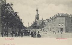 PBK-5253 Oranjeboomstraat met rechts de Damstraat, vanuit zuiden. Op de achtergrond de Wilhelminakerk.