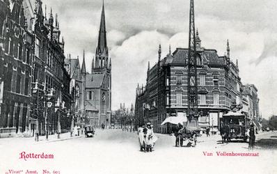 PBK-545 Gezicht in de Van Vollenhovenstraat. Aan het eind staat de Sint-Ignatiuskerk die in 1968 werd afgebroken. ...