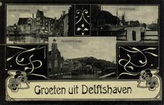PBK-57 Prentbriefkaart met afbeeldingen van de Achterhaven en de Aelbrechtskolk in Delfshaven.