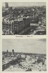 PBK-5725 Twee afbeeldingen van Plan C voor en na het bombardement van 14 mei 1940.Boven: Overzicht van Plan C aan de ...