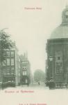 PBK-5784 Posthoornsteeg, uit het zuiden, vanaf de Blaak. Op de voorgrond de Keizersbrug, rechts de Lutherse kerk.