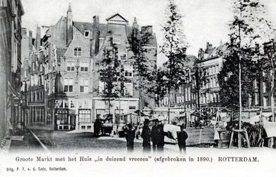 PBK-586 Grotemarkt in de richting van het Hang, links en het Steiger rechts. Op de achtergrond het huis In Duizend Vreezen.