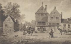 PBK-5938 Hoogstraat hoek Korte Hoogstraat, op de achtergrond het Rode Zand, met de Kapel der zeven slapers, omstreeks 1580