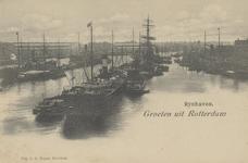 PBK-5989 Stoom- en zeilschepen voor overslag van goederen in de Rijnhaven.
