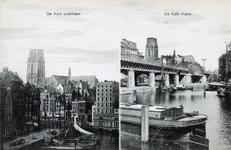 PBK-612 Het Westnieuwland (links) en het Steiger met de Korenbeurs. Op de voorgrond de Kolk, vanaf de Draaisteeg vanuit ...