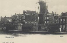 PBK-6250 Rotterdamse Schie met de spoorbrug, panden aan de westzijde van de Schiekade. Op de achtergrond molen De Haas.
