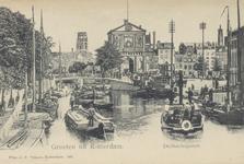 PBK-6251 Gezicht op de Rotterdamse Schie, uit het noorden. Op de achtergrond de Schiebrug, de Delftse Poort en de toren ...