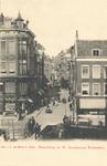 PBK-6383 Doorkijk in de Sint Jacobstraat vanuit het huis aan de Westewagenstraat nummer 1, over de Raambrug en de ...
