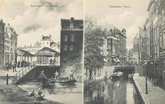 PBK-6534 links: situatie uit het jaar 1856 met op de achtergrond Vlasmarkt met gebouwen, rechts: Spuiwater uit het ...