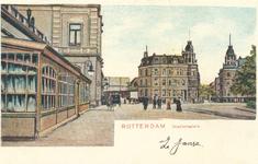 PBK-6599 Het Stationsplein. Tussen de beide torentjes rechts, de Delftsestraat, ooit een centrum van prostitutie.